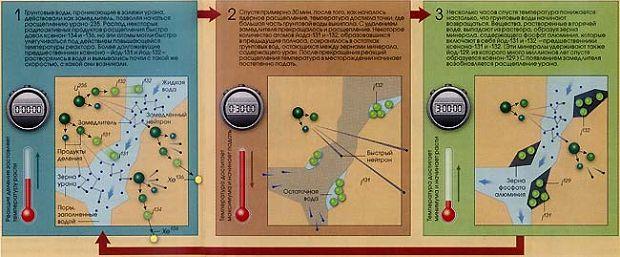 Попытки объяснить необычность изотопного состава ксенона в Окло потребовали рассмотреть также и другие элементы. Особое внимание привлек йод, из которого ксенон образуется при радиоактивном распаде. Моделирование процесса возникновения продуктов расщепления и их радиоактивного распада показало, что специфический изотопный состав ксенона — следствие циклического действия реактора, Этот цикл изображён на трёх схемах сверху.